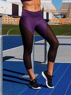 Ericdress Color Block Mesh Patchwork Gym Sports Yoga Pants