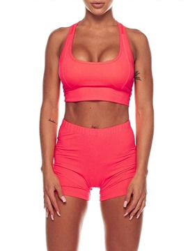 Ericdress Solid Shorts Sleeveless Pullover Push Up Gym Sports Sets