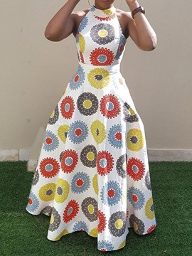 Ericdress Print Floor-Length Sleeveless African Fashion Dress