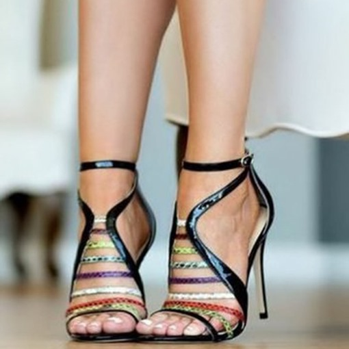 Ericdress Color Block Buckle Heel Covering Open Toe Women's Sandals
