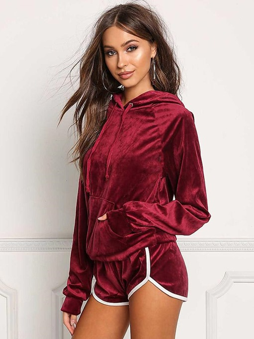 Ericdress Women Solid Long Sleeve Pullover Gym Sports Sets