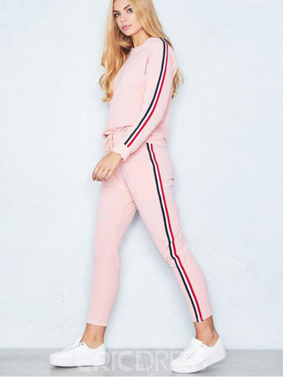 Ericdress Color Block Long Sleeve Pullover Activewear Gym Sports Sets