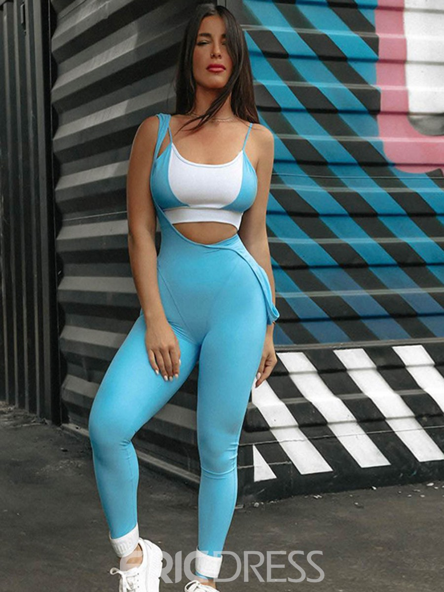 Ericdress Women Solid Full Length Push Up Gym Sports Jumpsuits