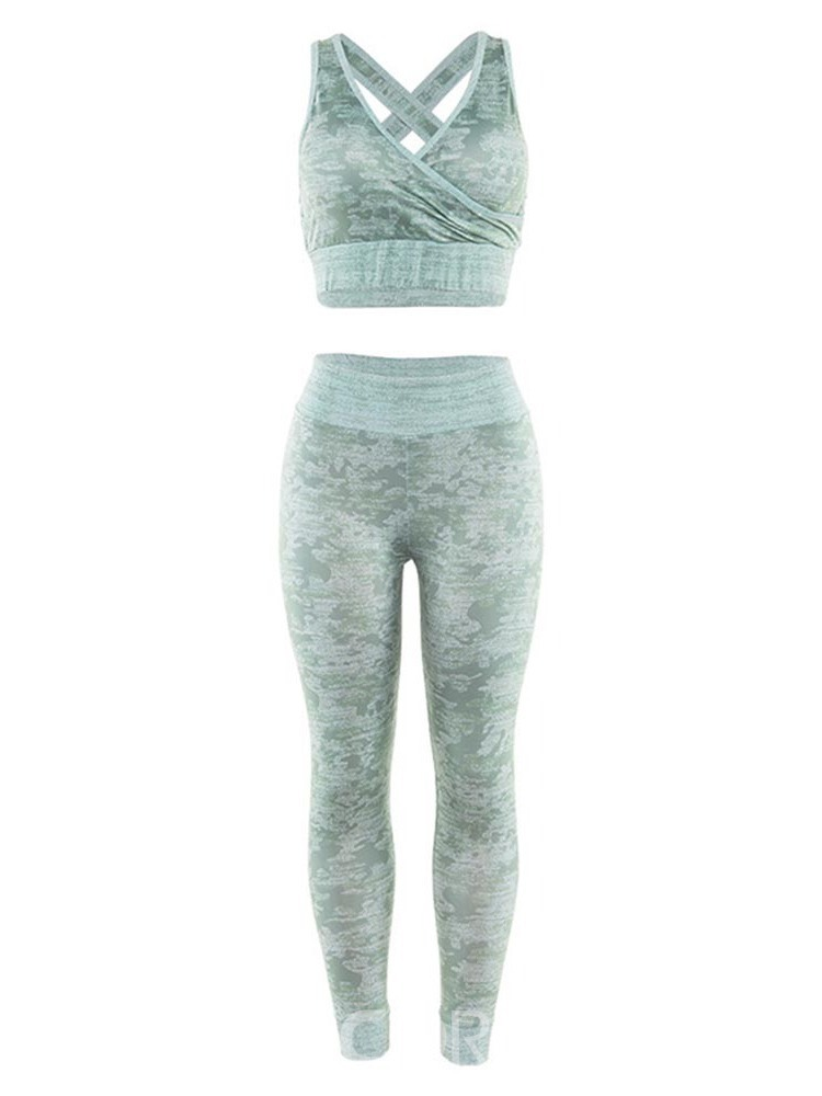 Ericdress Print Pullover Ankle Length Push Up Gym Sports Sets