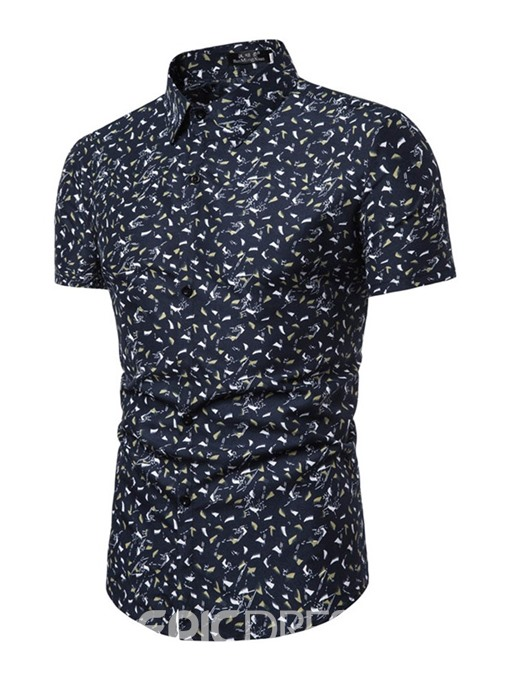 Ericdress Button Lapel Floral Mens Single-Breasted Slim Shirt