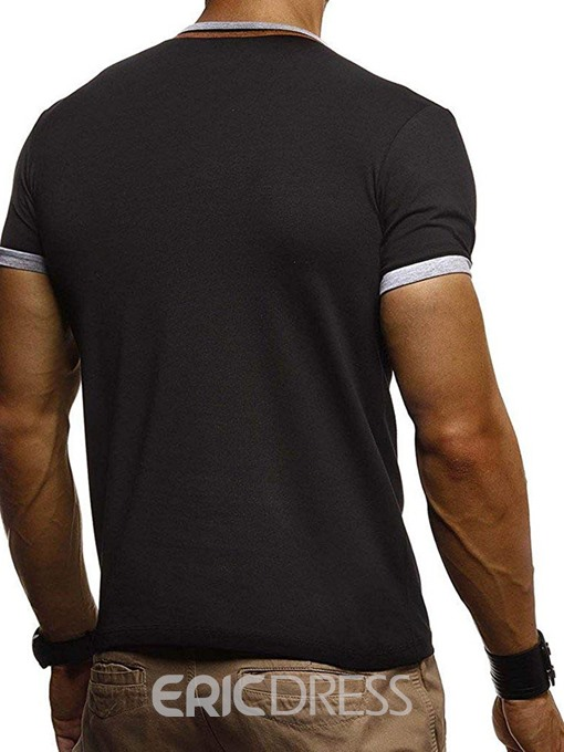 Ericdress Button European Stand Collar Mens Short Sleeve Slim T-shirt