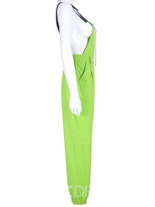 Ericdress Casual Plain Chain Straight Slim Jumpsuit(Without Belt)