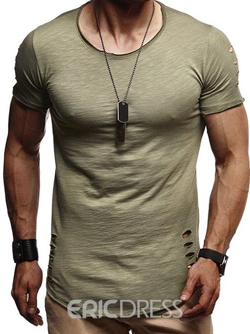 Ericdress Casual Plain Round Neck Wrapped Mens Short Sleeve T-shirt