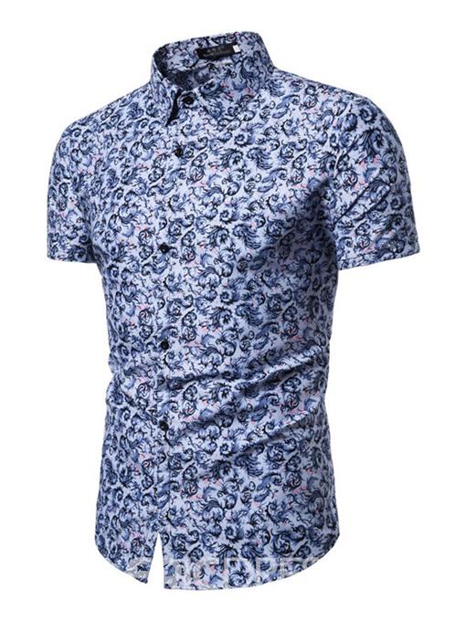 Ericdress Print Lapel Floral Single-Breasted Mens Slim Shirt