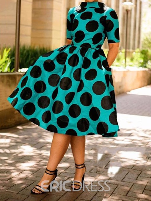 Ericdress Mid-Calf Short Sleeve Print Pullover Dress