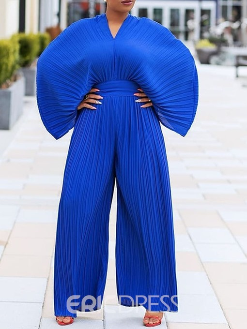 Ericdress Plain Pleated Full Length Slim Wide Legs Jumpsuit