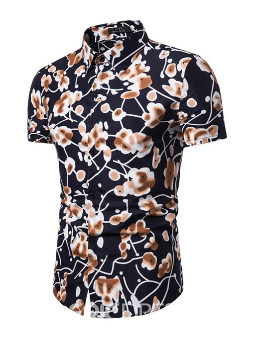 Ericdress Lapel Print Casual Mens Single-Breasted Summer Shirt