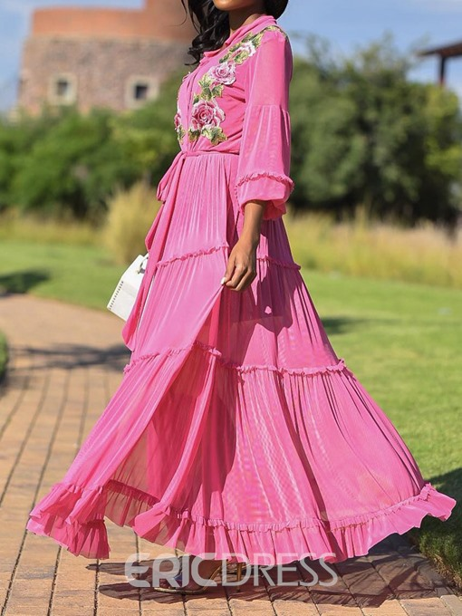 Ericdress Pleated Lapel Floor-Length A-Line Floral Dress