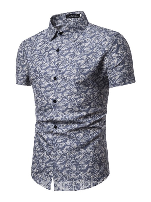 Ericdress Print Lapel Floral Summer Mens Single-Breasted Shirt