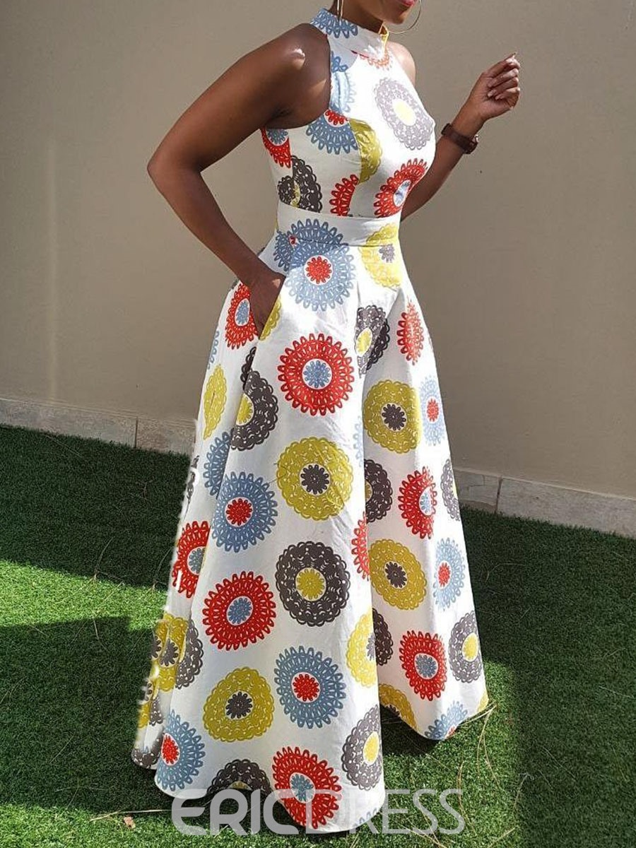 Ericdress African Fashion Expansion Floor-Length Sleeveless Dress(Without Crinoline)