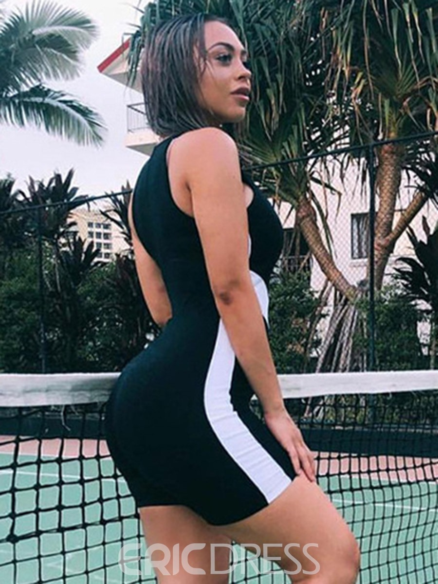 Ericdress Color Block Sleeveless Shorts Summer Gym Sports Jumpsuit