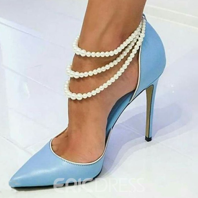 f16381bf3ea Ericdress Beads Pointed Toe Stiletto Heel Women s Prom Shoes(14009075)