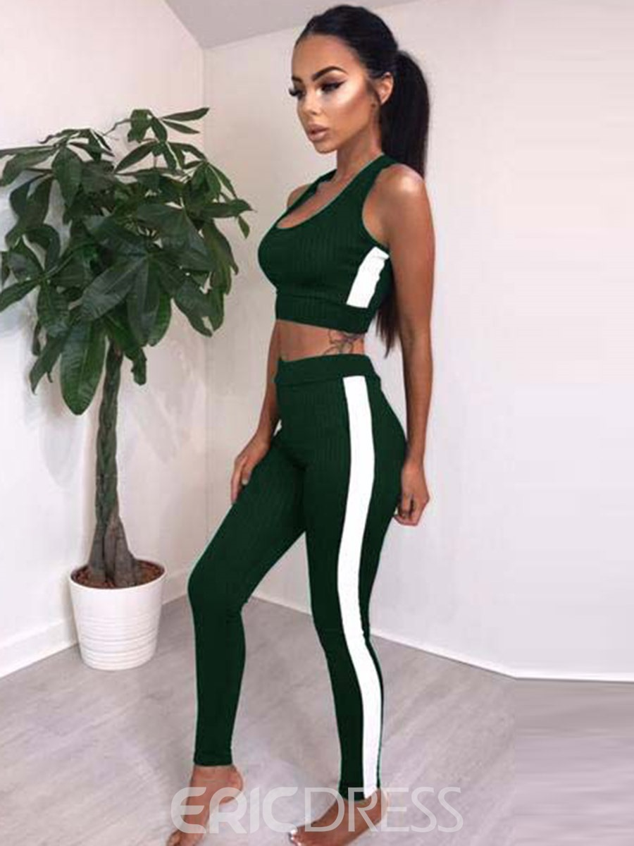 Ericdress Color Block Leggings Sleeveless Fitness Gym Sports Sets