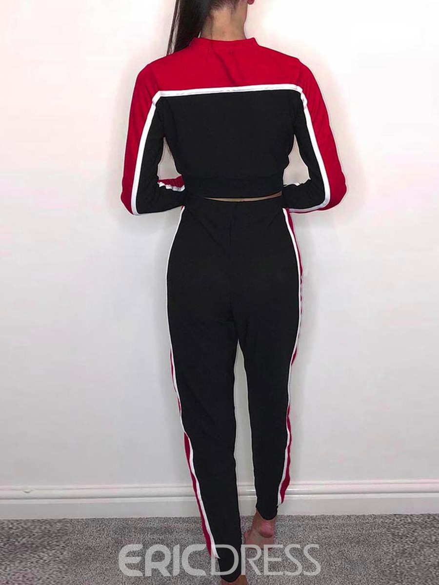 Ericdress Color Block Pullover Full Length Activewear Gym Sports Sets