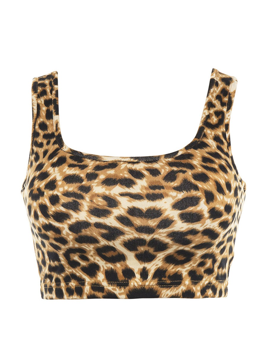 Ericdress Print Leopard Pullover Sleeveless Gym Sports Tops