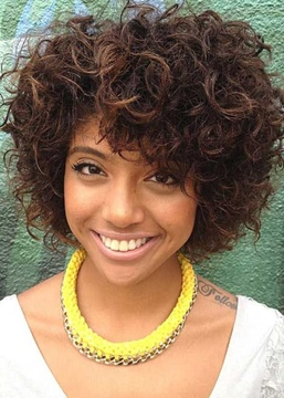 Ericdress Short Hairstyle Curly Natural Color Human Hair Lace Front Wigs 12 Inches