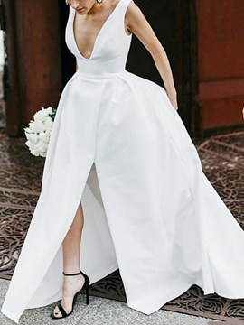A-Line Split-Front Beach Country Wedding Dress