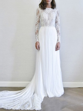 Ericdress Pleats Beading Lace Long Sleeve Wedding Dress 2019