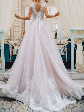 Ericdress Lace-Up Lace Garden Wedding Dress 2019