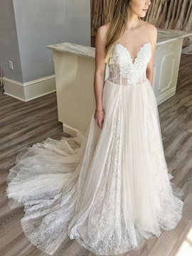 Ericdress Sweetheart Neck Lace Wedding Dress 2019