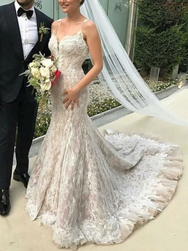 Ericdress Spaghetti Straps Ruffles Mermaid Lace Wedding Dress 2019