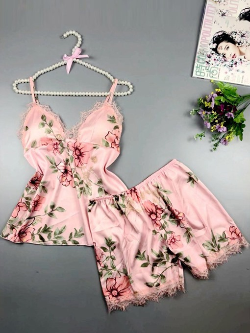 Ericdress Lace Floral Satin Pajama Camisole Short Sets Loungewear