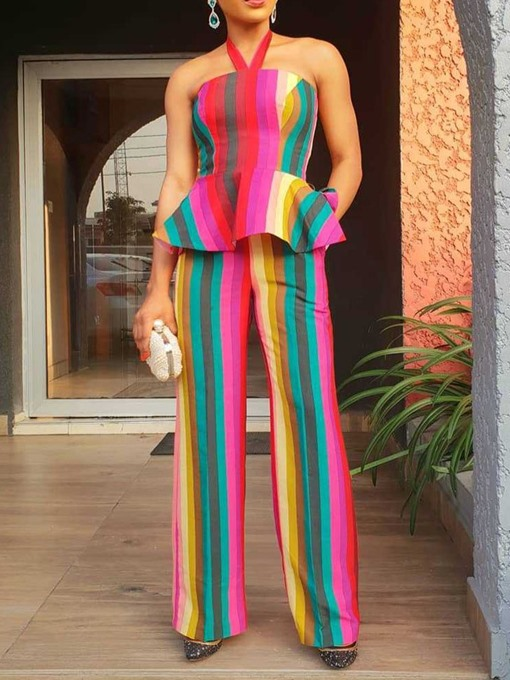Ericdress Color Block Ruffles Straight Vest And Pants Two Piece Sets