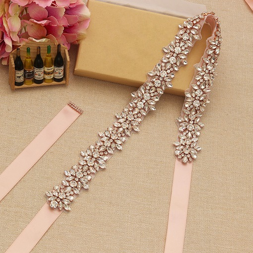 Regular(2-4cm) Ribbons Rhinestone Bridal Belt