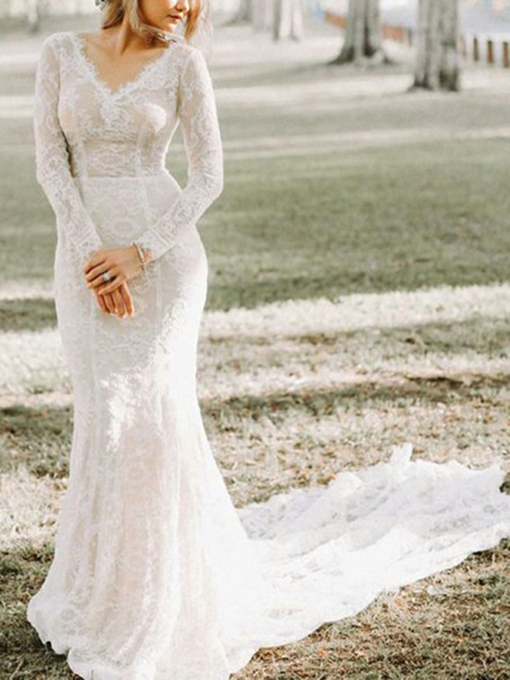 Ericdress V-Neck Long Sleeves Lace Wedding Dress 2019