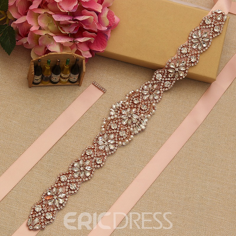 Regular(2-4cm) Length Ribbon Rhinestone Bridal Belts
