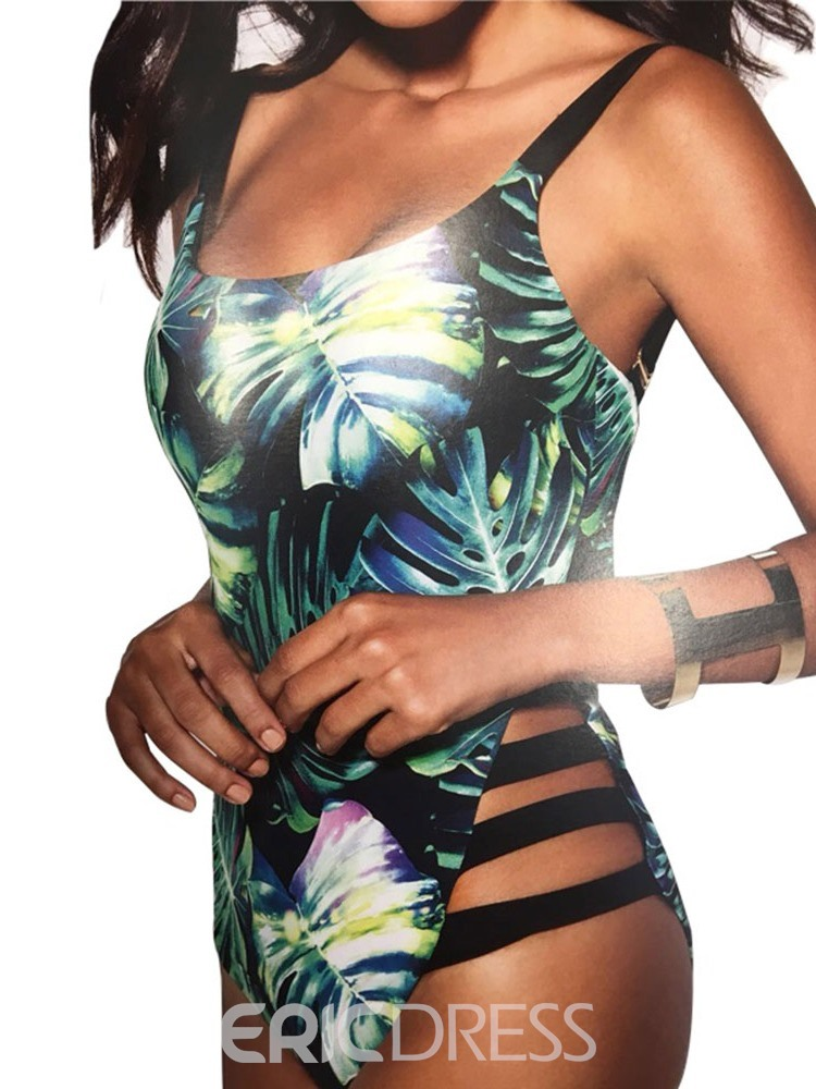 Ericdress Color Block Print One Piece Swimwear
