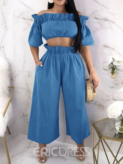 Ericdress Plain Stringy Selvedge Denim Off Shoulder T-Shirt And Pants Two Piece Sets