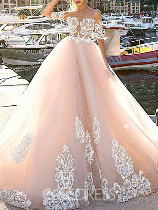 A-Line Chapel Button Floor-Length Hall Wedding Dress 2019