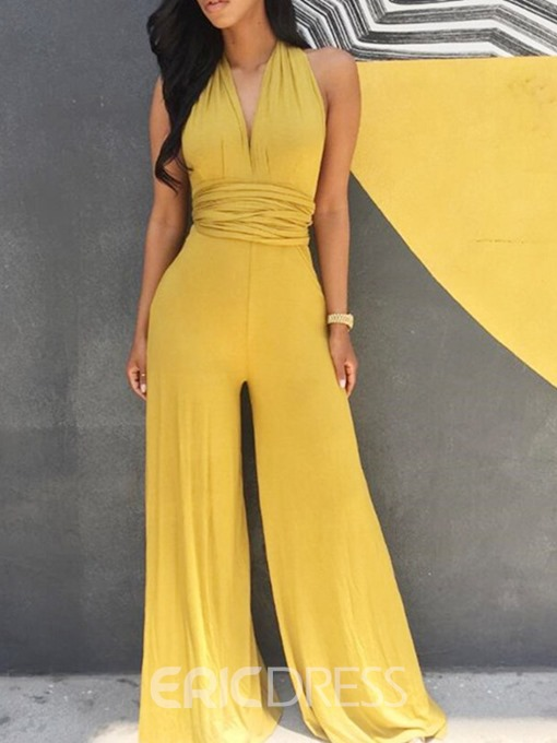 Ericdress Bellbottoms Backless Sexy High Waist Slim Jumpsuit