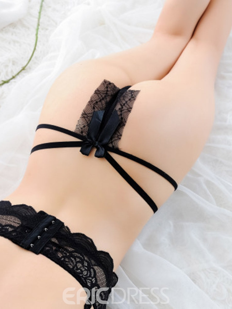 Ericdress Plain Bowknot Thong/G-String Lace Panties