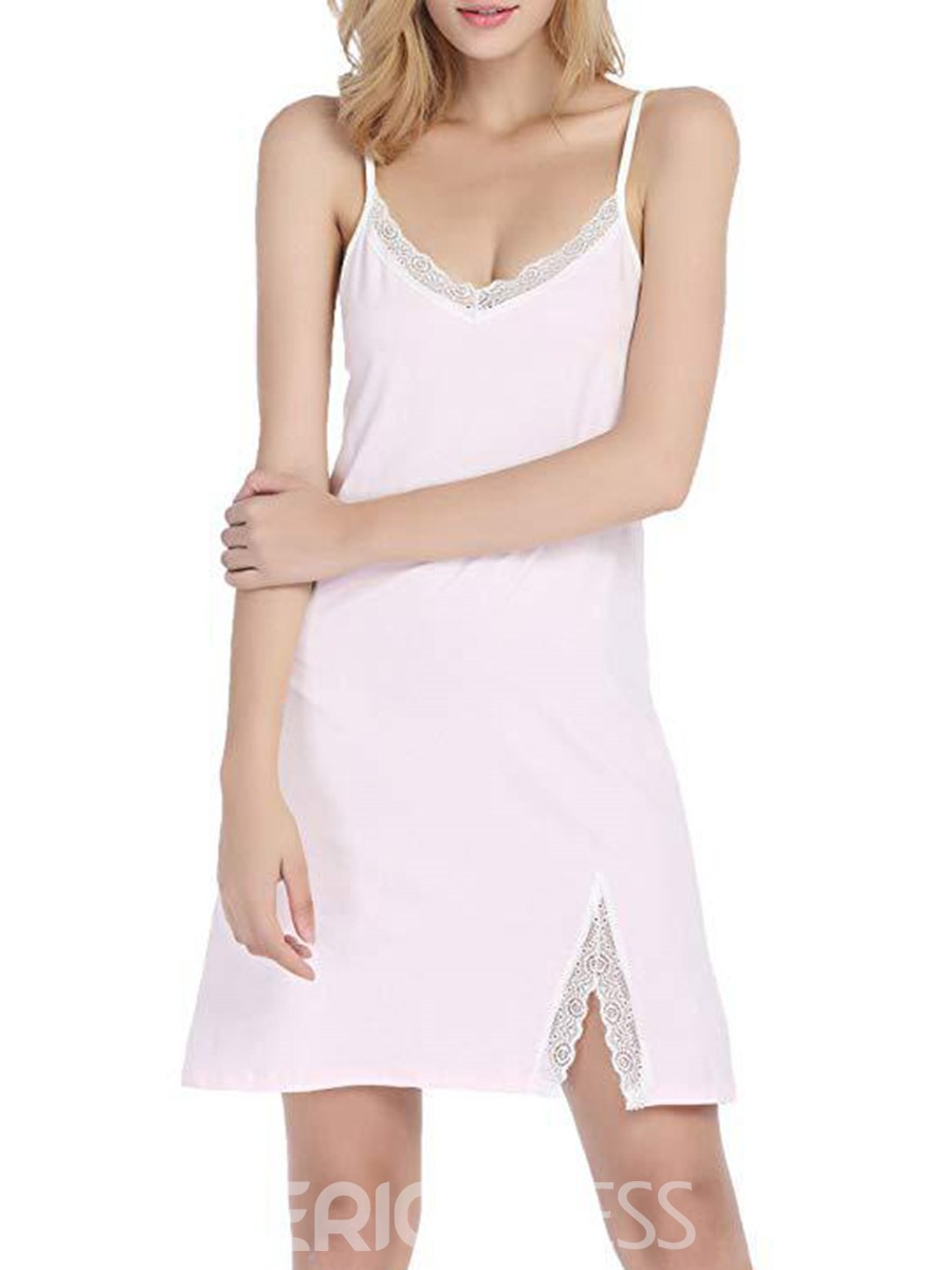Ericdress Single Lace Color Block Sexy Sleeveless Nightgowns