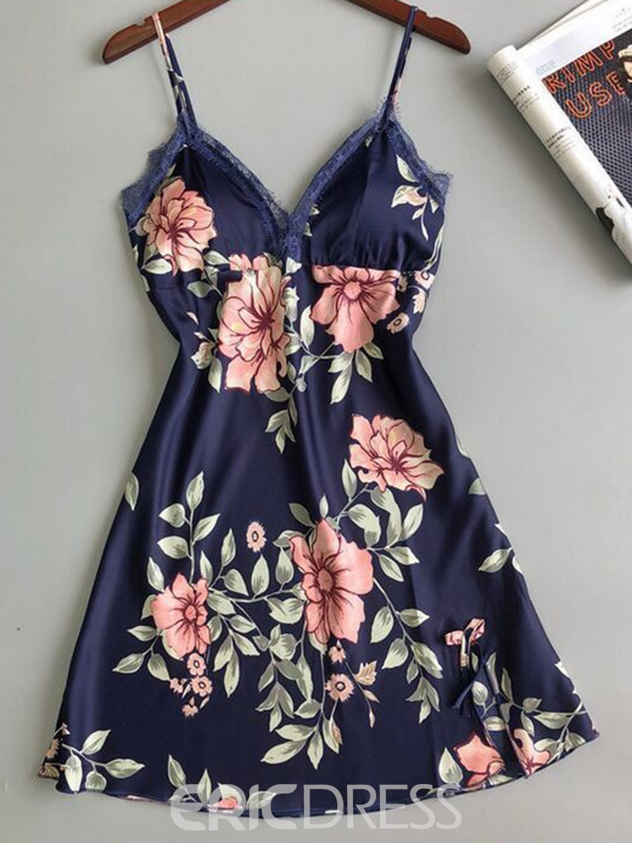 Ericdress Single Print Floral Spaghetti Strap V-Neck Nightgowns