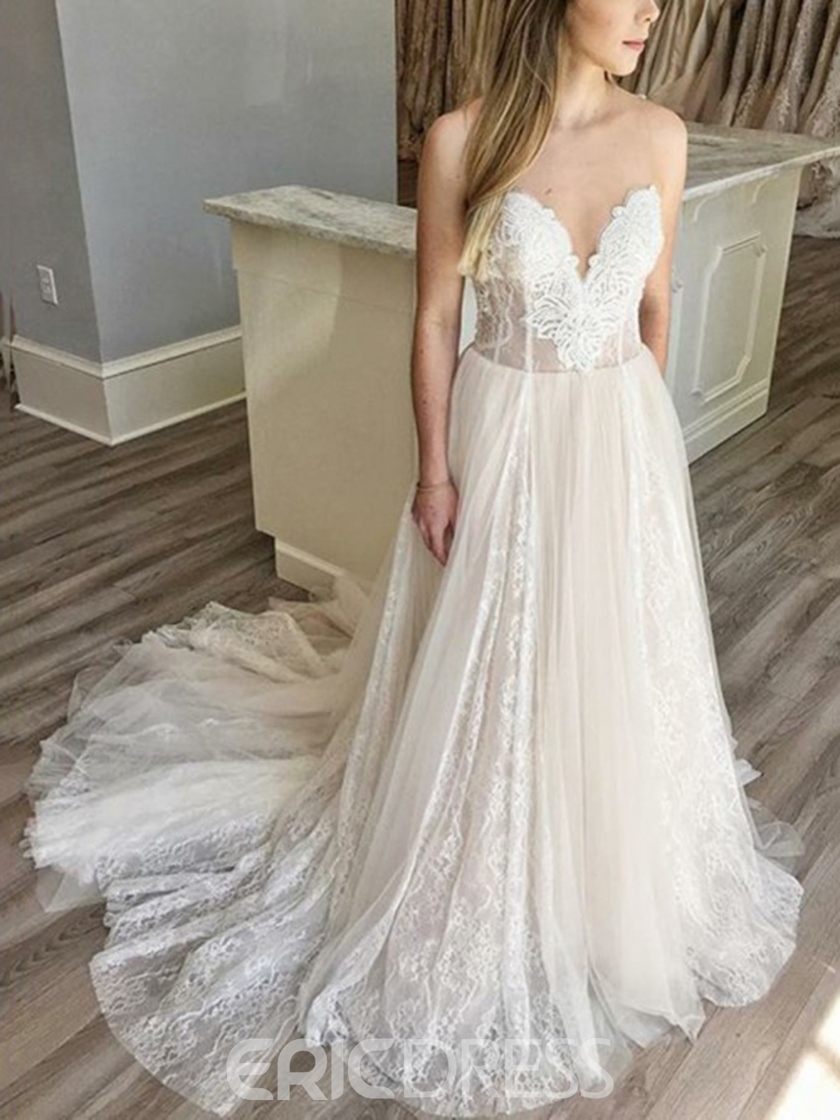 Ericdress Sweetheart Neck Lace Wedding Dress