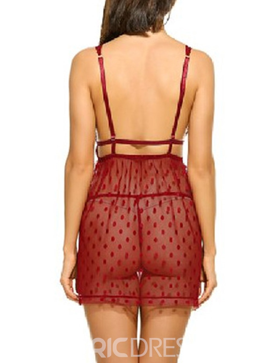 Ericdress Backless Polka Dots Mesh Nylon Sleeveless Babydolls