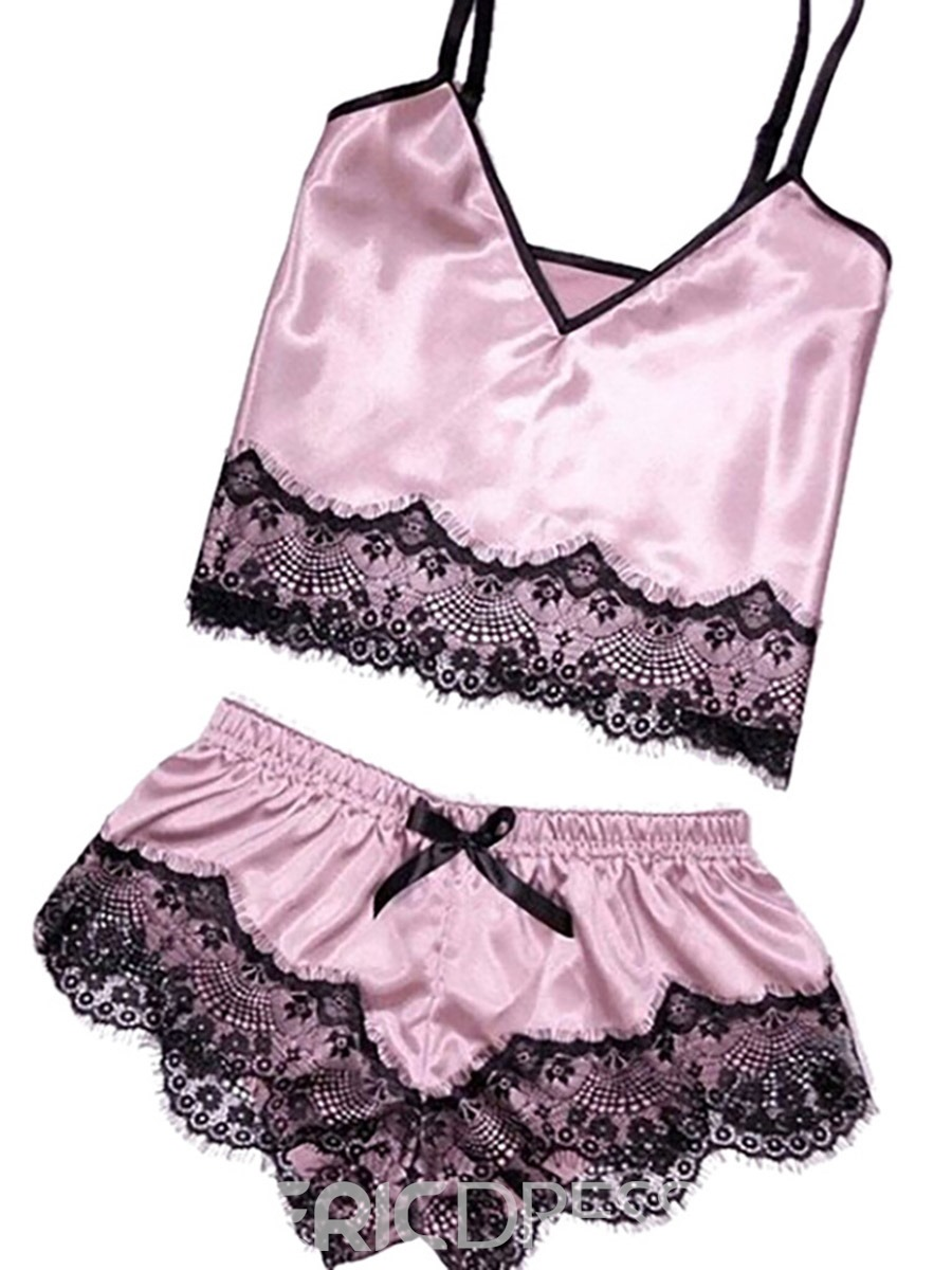 Ericdress Women Lace PJS Satin Pajama Cami Set Sexy Nightwear