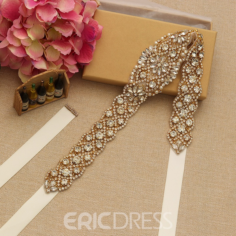 Wide Belt(>4cm) Ribbon Rhinestone Bridal Belts