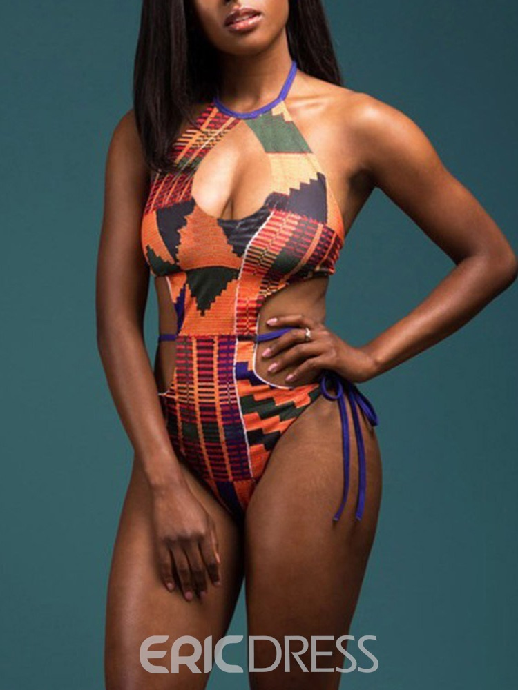 Ericdress Print Geometric One Piece Swimwear