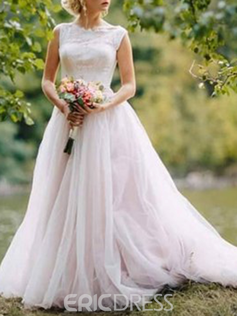 Ericdress Lace-Up Lace Garden Wedding Dress