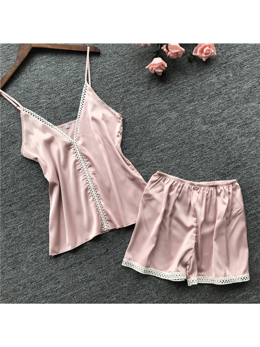 Ericdress Women Summer Sexy Satin Pajama Camisole Short Sets