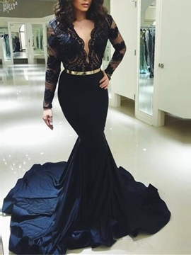 Ericdress V-Neck Long Sleeves Mermaid Evening Dress 2019